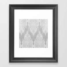 Lace & Shadows 2 - Monochrome Moroccan doodle Framed Art Print