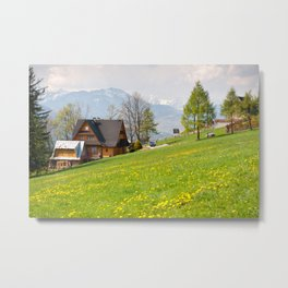 Bucolic spring meadow and house Metal Print