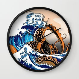 Kraken in Kanagawa Wave Wall Clock