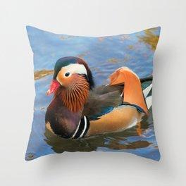 Beautiful Mandarin Duck at the Pond Throw Pillow