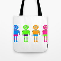 robots Tote Bags featuring robots by myepicass