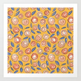 Floral Pattern #13 | Orange, Coral and Navy Blue Art Print