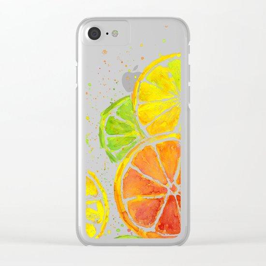 Fruit Watercolor Citrus Clear iPhone Case