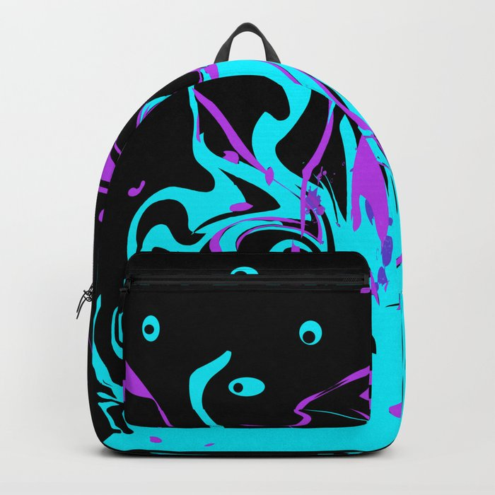 Turquoise pink abstract pattern on a black background . Splash . Backpack