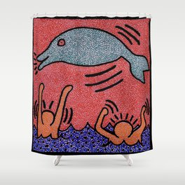 Keith Haring Dolphin Shower Curtain
