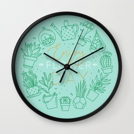 Monogram pots with plants enjoy flower turquoise Wall Clock