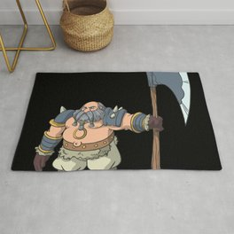 Tabletop role play figure dwarf with ax Rug