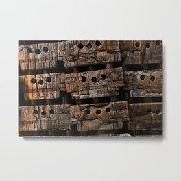 Charred Wood Boxes Metal Print