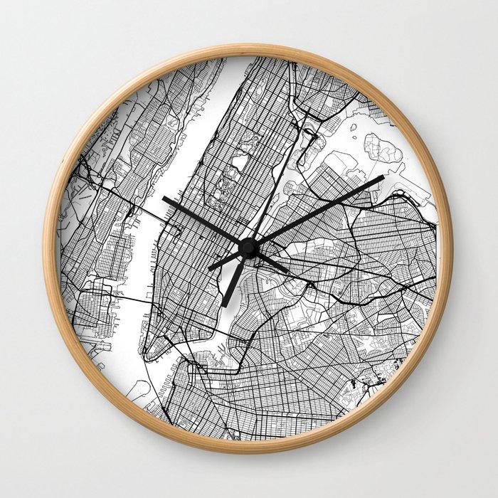 New York City Neutral Map Art Print Wall Clock