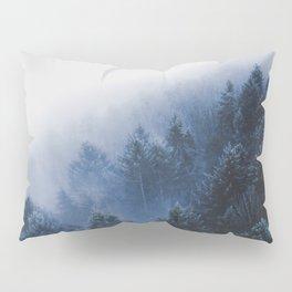 Foggy Blue Purple Mountain hill Pine Trees Landscape Nature Photography Minimalist Modern Art Pillow Sham