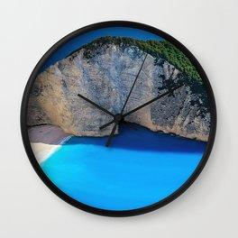 Navagio Beach summer bay greek landmarks Zakynthos Ionian Sea Greece Europe Wall Clock