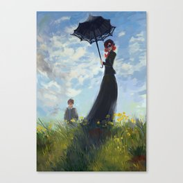 nanny with a parasol Canvas Print