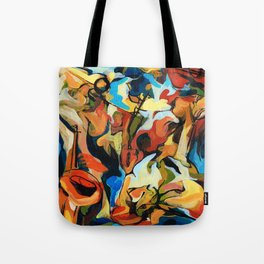 Abstract Musicians Painting Tote Bag