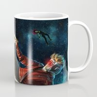 star lord Mugs featuring Star Lord saves Gamora by Jaime Gervais