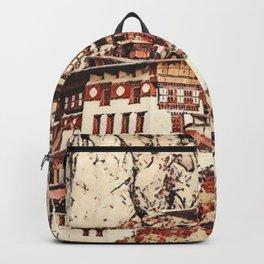 Bhutan Paro Taktsang Artistic Illustration Blossom Style Backpack