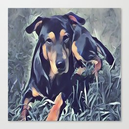 Black and Tan Coonhound Puppy Canvas Print