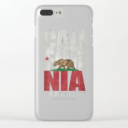 Cali Bear Flag with deep distressed textures Clear iPhone Case