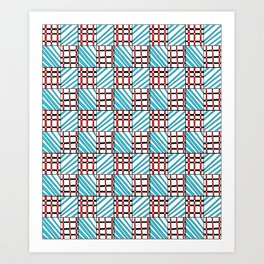 symetric tartan and gingham 19 -vichy, gingham,strip,square,geometric, sober,tartan Art Print