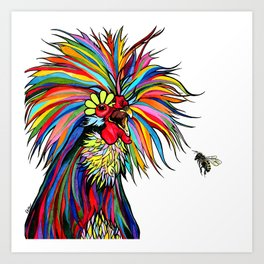 RobiniArt Chicken and Bee Art Print