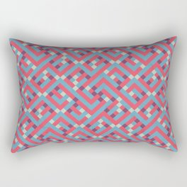 Geometric Labyrinth Red And Blue Rectangular Pillow