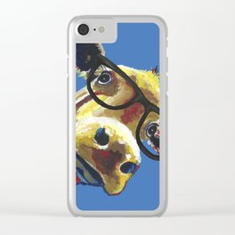 Cute Cow With Glasses, Up close Glasses Cow Clear iPhone Case