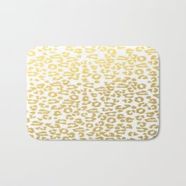 Gold Leopard Animal Print Ink Nature Jungle Exotic Pattern Bath Mat