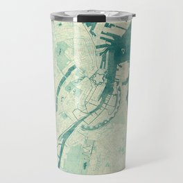 Copenhagen Map Blue Vintage Travel Mug