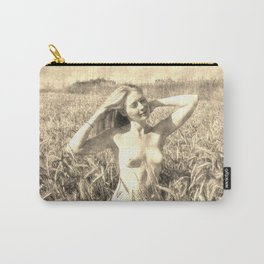 Vintage Beauty of Nature  - erotic photography rework, sexy topless girl at field, kinky nude posing Carry-All Pouch