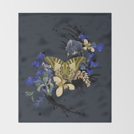 Blue Butterfly Vintage by Black Jungle Throw Blanket