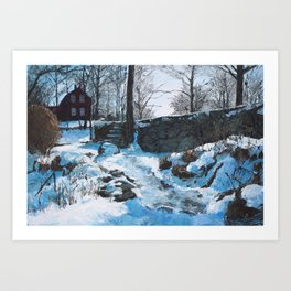 Winter at Weir Art Print