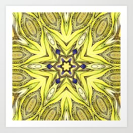 Yellow mandala Art Print