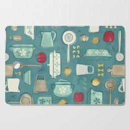 Vintage Kitchen Utensils / Teal Cutting Board