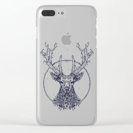 Flowers and Stag [Monochrome] Clear iPhone Case