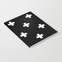 Swiss cross pattern white on black Notebook