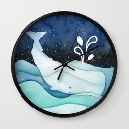 Whale Goes For A Night Swim Wall Clock