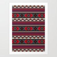 Navajo blanket pattern- red Art Print