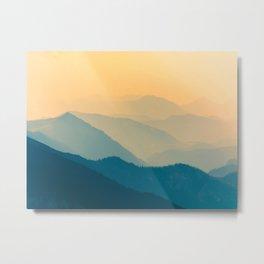 Beautiful Sunset Mountain Landscape Twilight Pastel Hues Blue Teal Yellow Orange Metal Print