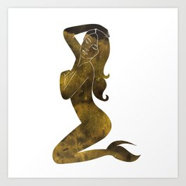 Gold Mermaid Art Print