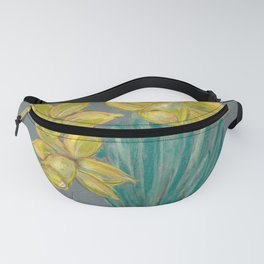 Bouquet of yellow flowers in vase on a gray background Fanny Pack
