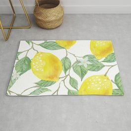 Lemons and Leaves Watercolor Illustration, The Branches Of The Lemon Tree, Watercolor Lemon Tree Rug