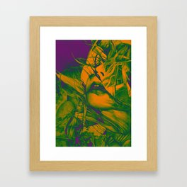 Burning flame illustration, abstract drawing of female portrait with hair in the wind. Framed Art Print