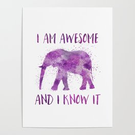 Awesome Watercolor Elephant Poster