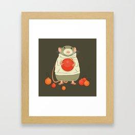 Mouse with a Christmas ball II Framed Art Print