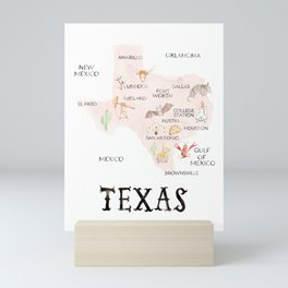 Watercolor Texas Map Mini Art Print