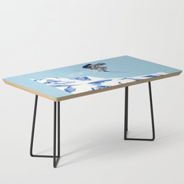 Airborn Skier Flying Down the Ski Slopes Coffee Table