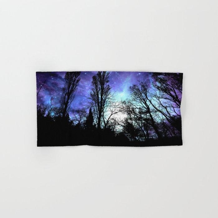 black trees periwinkle blue aqua space Hand & Bath Towel