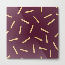 Burgundy Gold Pattern, Modern home decor - Printable gift, Rustic home decor Metal Print