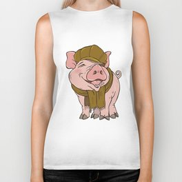 Pig in hat and scarf Biker Tank