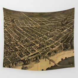 Vintage Pictorial Map of Selma Alabama (1887) Wall Tapestry