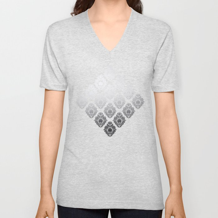 """Neutral gray Damask Pattern"" Unisex V-Neck"